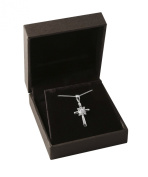 Decorative Sterling Silver and Zirconium Cross necklace. Perfect for Christening, Confirmation or First Communion.