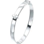 Silver D For Diamond Adjustable Cross Baby Bangle - Christening Gift