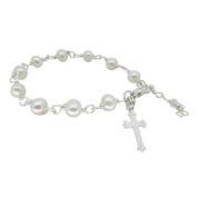 White Freshwater Pearl Bracelet with Cross - Girl's Confirmation Gift, Girls First Holy Communion Gift, Girls Christening Gift