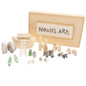 Noah's Ark Gift Boxed Set Hand Carved & Painted Christening New Baby Gift by East of India