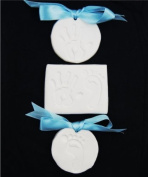 BabyRice Unisex Baby Toddler Soft White Clay Dough for Hand prints & Footprints Imprints - in a Pretty Organza bag & Ribbon