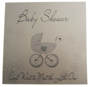 White Cotton Cards Baby Shower Pram Card