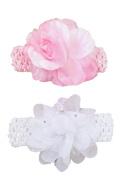 Baby Girls 2 Piece Headband Set - White Sequin Flower & Pink Satin Rose- 0-12 Months Great Gift Set!