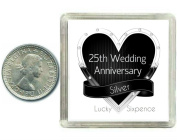 Lucky Silver Sixpence Coin Silver 25th Wedding Anniversary Gift. Includes presentation keepsake box, great present idea