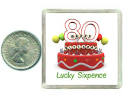 80th Birthday Lucky Silver Sixpence Gift in presentation keepsake box. Great good luck present idea for man or woman