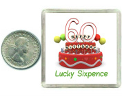60th Birthday Lucky Silver Sixpence Gift in presentation keepsake box. Great good luck present idea for man or woman