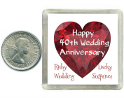 Lucky Silver Sixpence Coin Ruby 40th Wedding Anniversary Gift. Includes presentation keepsake box, great present idea
