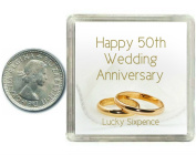Lucky Silver Sixpence Coin 50th Golden Wedding Anniversary Gift. Includes presentation keepsake box, great present idea