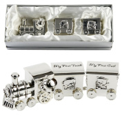 Baby Gifts Silver Plated Train With 2 Carriages - My First Tooth & First Curl