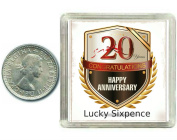Lucky Silver Sixpence Coin 20th China Wedding Anniversary Gift. Includes presentation keepsake box, great present idea