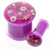 Flesh Ear Plug Tunnel Oriental flowers with a DEEP PINK background in sizes 5mm-12mm