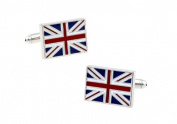 Silver British Union Jack Cufflinks with Presentation Box