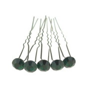 Jewellery of Lords 10 Dark Green Silver Plated Solitaire Colour Crystal Wedding Bridal Bride Prom Hairpin Hair Bobby Pin