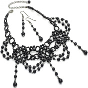 Vintage handmade gothic victorian burlesque black bead choker necklace and matching earring set