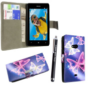 STYLE YOUR MOBILE NOKIA LUMIA 625 ULTRA BUTTERFLY BLUE PU LEATHER CARD POCKET MAGNETIC BOOK FLIP CASE COVER POUCH + FREE STYLUS