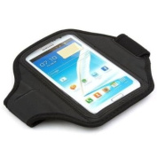 King of Flash Black Padded Armband Pouch for Samsung Galaxy Note 3 / III / - Note 2 / II Smartphone for us during Workout /Gym / Running