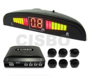 6 Rear Parking Reversing Sensors with LED Display 2 Front 4 Rear - Silver