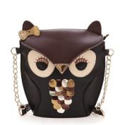 Yazilind Black Brown Lovely Owl Pu Leather Chain Shoulder Handbag Tote Bag For Girls Women