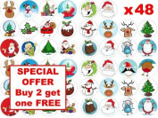 48 x 3cm Father Christmas Santa Claus Xmas Festive Mixed Fairy Cup Cake Toppers Decoration Edible Rice Wafer Paper