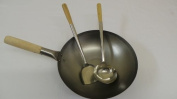 33cm WOK Flat Bottom Carbon Steel with Stainless Steel Ladle and Turner