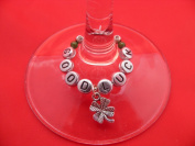 Individual 'Good Luck' Wine Glass Charm with a Four Leaf Clover by Libby's Market Place