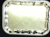 Serving Tray, Chrome Silver Rectangular Platter 41cm x 30cm