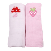 Minene Muslin Squares with A Embroidered Mushroom and Strawberry