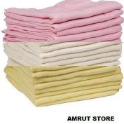 12 x PINK,CREAM AND YELLOW MUSLIN SQUARES 100% COTTON