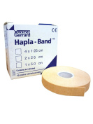 HAPLA-BAND 2.5cm x 10m (2 ROLLS) Flesh coloured, thin hypoallergenic bandage, has elastic warp threads which allow the bandage to stretch