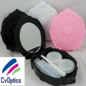 Black Vintage Style Contact Lens Travel Kit / Case with Tweezers