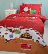 Catherine Lansfield Single Bed 135 x 200 cm Plus 1 50 x 75 cm 55 Percent Cotton 45 Percent Polyester Percale Santa's Christmas Present Quilt Set