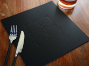Set of 8 BLACK Embossed SQUARE Bonded Leather PLACEMATS Leatherboard Table Mats