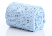 Baby 100% Pure Cotton Cellular Blanket for Pram Cot Bed Moses Basket Crib 70 x 90 cm 3 Colours : Pink , White Or Blue