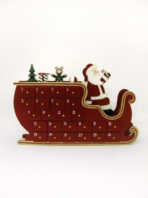Wooden Christmas Advent Calendar Santa & Sleigh
