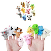 10pcs Velvet Animal Finger Puppets Baby Children Play Learn Story Toy Sets