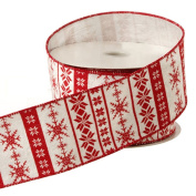 Red & Cream Vintage Snowflake Country Christmas Wired Ribbon, 6.4cm Wide X 10 Yards