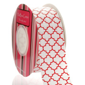 3.8cm Red Quatrefoil Grosgrain Ribbon