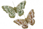 18cm X 13cm Green and Gold Iridescent Jewelled Artificial Butterfly