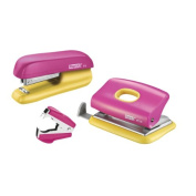 Rapid F5 Mini Stapler and Hole Punch Set - Pink/Yellow