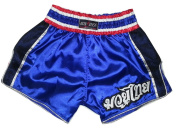 Boxsense BXSRTO-001 Blue Retro Muay Thai Kick Boxing Shorts
