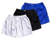 (XL) 3-Pack White Black Blue Boxer Shorts Underwear Men Sleepwear Satin