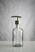 Small Recycled Glass Soap Dispenser with Metal Pump