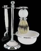 Artemis White MACH 3 Shaving Gift Set - Razor, Bowl & Brush on Stand SHV118