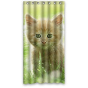 90cm x 180cm Inches Photo Of Cute Kitty In Grassland Shower Curtain 100% Waterproof Polyester Fabric Fitted Bathroom Shower Curtain,Shower Rings Included