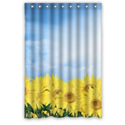 Popular Pretty Yellow Sunflowers Under Blue Sky Shower Curtain 120cm x 180cm Inches 100% Waterproof Polyester Fabric Fitted Bathroom Bath Curtain,Shower Rings Included