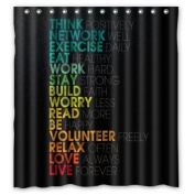 Fitted Bathroom Faith Words Graduate Colour THINK NETWORK LOVE LIVE Shower Curtain 66(W)x72(H) Inches 100% Waterproof Polyester Fabric Bath Curtain,Shower Rings Included