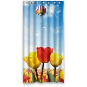 90cm x 180cm Inches Red And Yellow Flowers Field Fire Balloon In The Sky Shower Curtain 100% Waterproof Polyester Fabric Bath Curtain