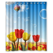 Red And Yellow Flowers Field Fire Balloon In The Sky Shower Curtain 150cm x 180cm Inches 100% Waterproof Polyester Fabric Fitted Bathroom Shower Curtain