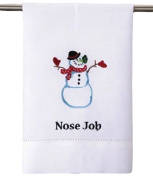 "Snowman ""Nose Job"" Christmas Kitchen / Bar Dish or Hand Guest Towel, 36cm X 60cm , White with Blue, Red & Green"