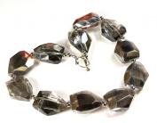 Silver Grey Crystal Quartz Nugget Silver Toggle Necklace 46cm N14071113